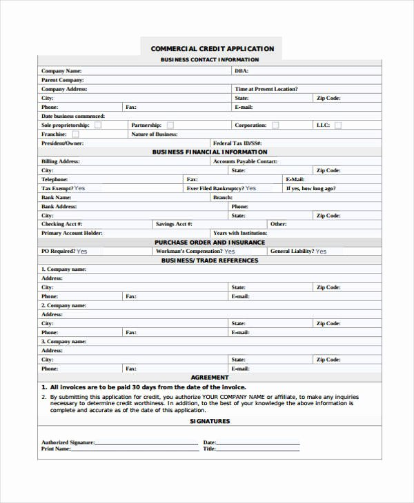 Commercial Credit Application Template Best Of 21 Free Credit Application forms