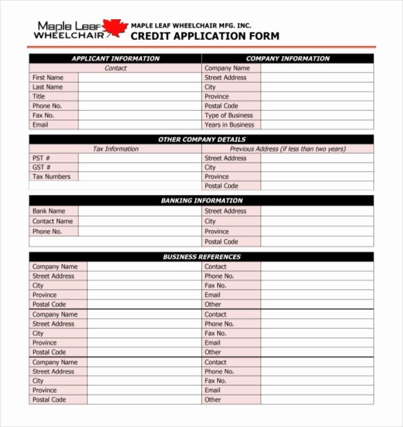 Commercial Credit Application Template Luxury 15 Credit Application Templates Free Sample Example