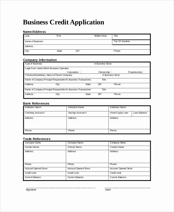 Commercial Credit Application Template Unique 9 Sample Credit Application forms