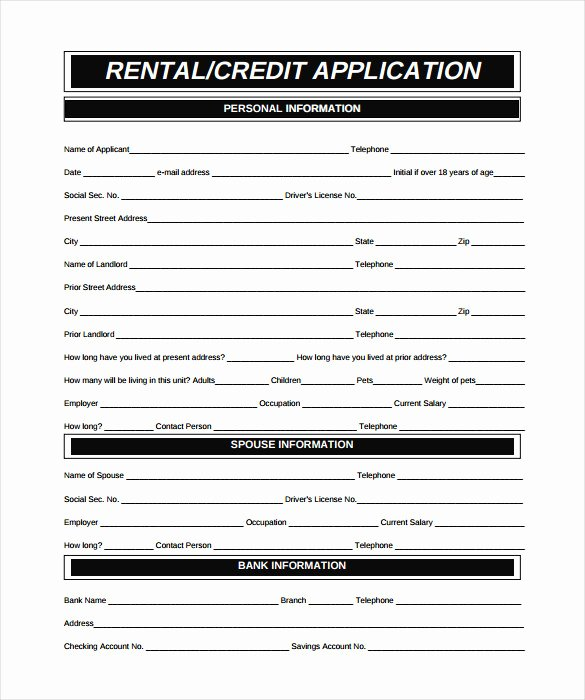 Commercial Credit Application Template Unique Rental Application – 18 Free Word Pdf Documents Download