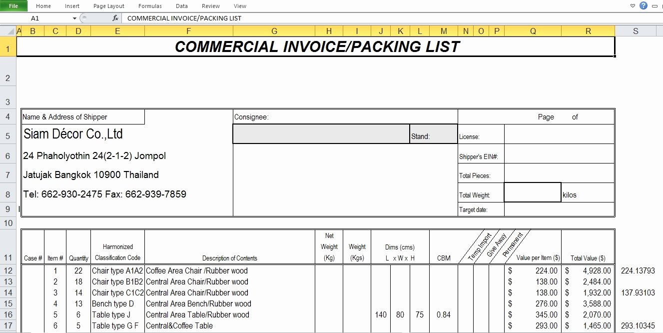 Commercial Invoice Template Excel Inspirational Mercial Invoice Sample Template Excel Tmp