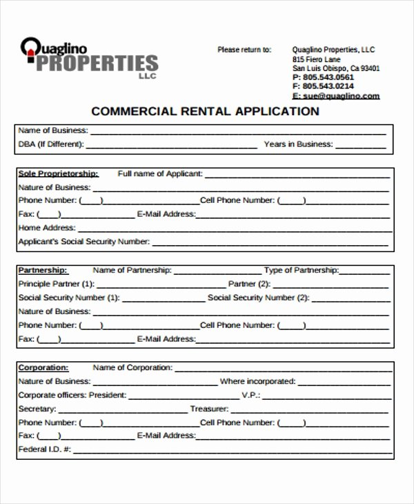 Commercial Lease Application Template Beautiful 18 Rental Application Templates