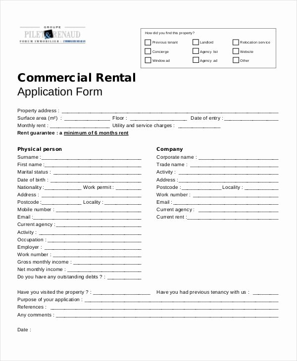 Commercial Lease Application Template Elegant 17 Printable Rental Application Templates