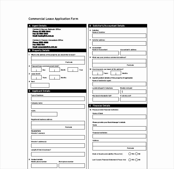 Commercial Lease Application Template Fresh 27 Lease Application forms In Pdf