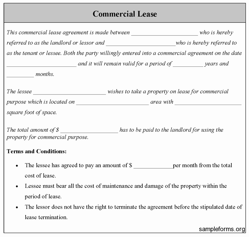 Commercial Lease Application Template Fresh Mercial Lease Agreement Sample Free Printable Documents