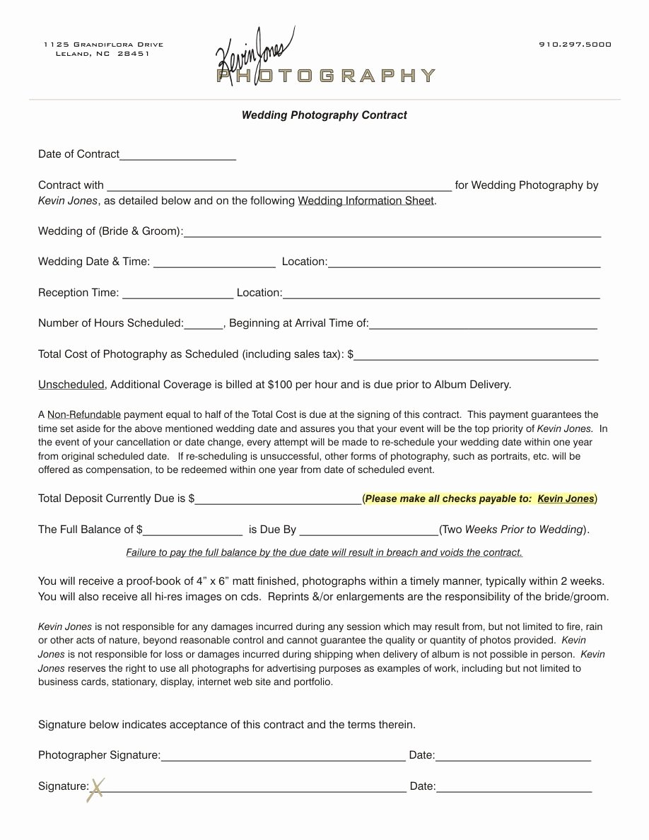Commercial Photography Contract Template Awesome Wedding Photography Contract