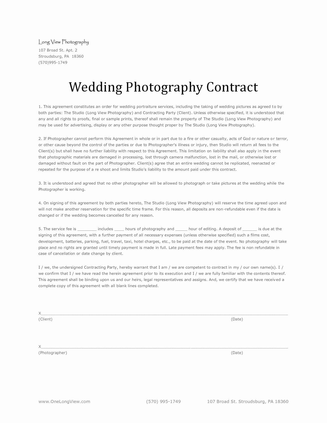 Commercial Photography Contract Template Beautiful Basic Wedding Graphy Contracts