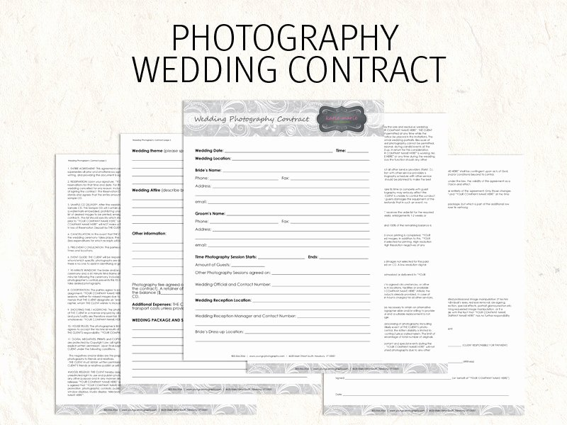 Commercial Photography Contract Template Beautiful Wedding Graphy Contract Business forms Flowers Editable