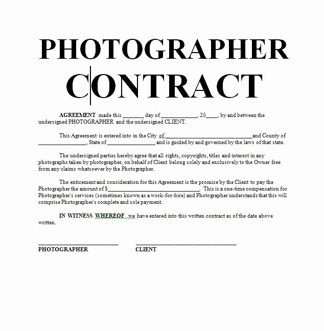 Commercial Photography Contract Template Lovely Graphy Contract