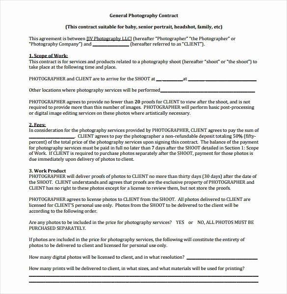 Commercial Photography Contract Template Unique 18 Graphy Contract Templates – Pdf Doc