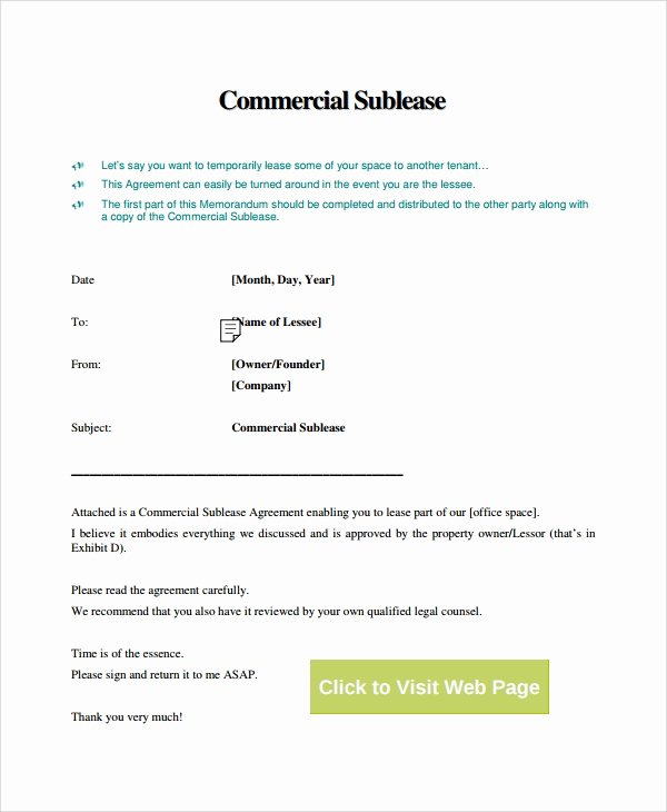 Commercial Sublease Agreement Template Awesome 9 Mercial Sublease Agreements