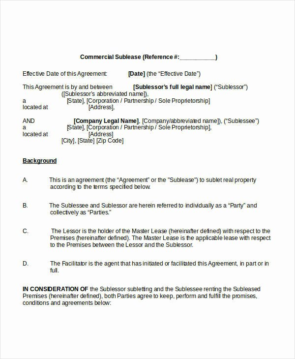 Commercial Sublease Agreement Template Awesome Sublease Agreement Template 10 Free Word Pdf Documents