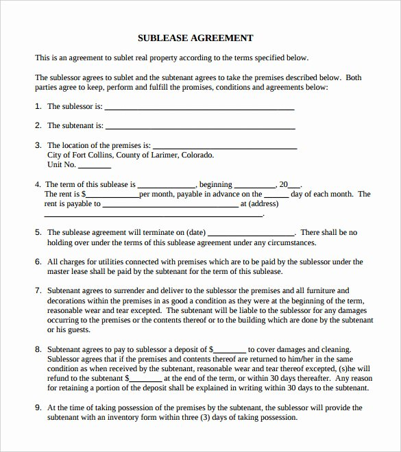 Commercial Sublease Agreement Template Best Of Agreement Template 27 Free Word Pdf Documents Download
