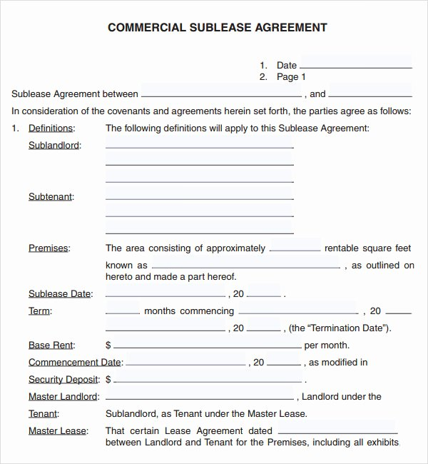 Commercial Sublease Agreement Template Best Of Mercial Lease Agreement 7 Free Download for Pdf