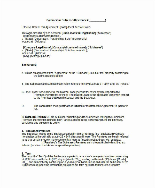 Commercial Sublease Agreement Template Fresh Sublease Contract 7 Free Word Pdf Documents Download