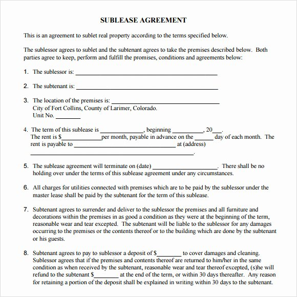 Commercial Sublease Agreement Template Lovely 7 Sublease Agreement Samples