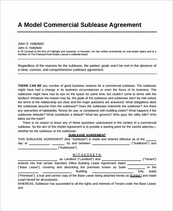 Commercial Sublease Agreement Template Luxury 7 Sublease Agreement Samples