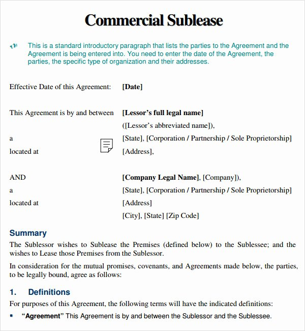 Commercial Sublease Agreement Template Luxury Sublease Agreement 9 Free Pdf Doc Download