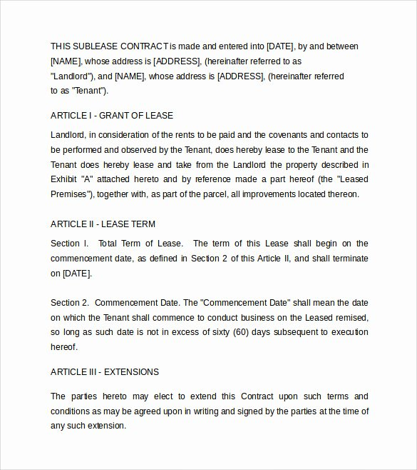 Commercial Sublease Agreement Template Luxury Sublease Contract Template 7 Download Documents In Pdf