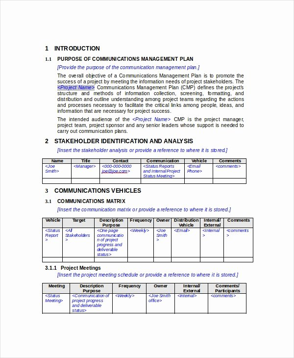 Communication Management Plan Template Inspirational Munication Plan 11 Pdf Word Documents Download