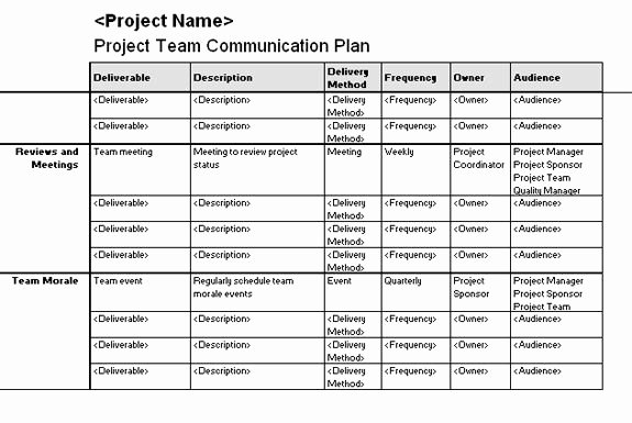 Communication Management Plan Template Lovely Project Team Munication Plan Templates Fice