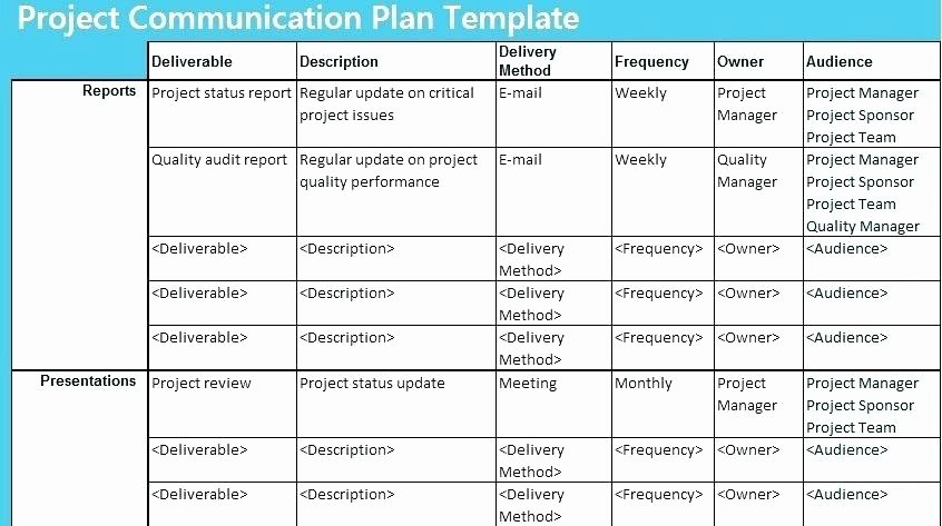 Communication Management Plan Template New Excel Munication Strategy Template Example Project Team