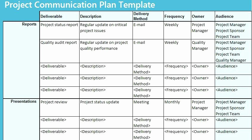 Communication Plan Template Excel Awesome Munication Plan Template Sample Project Plans