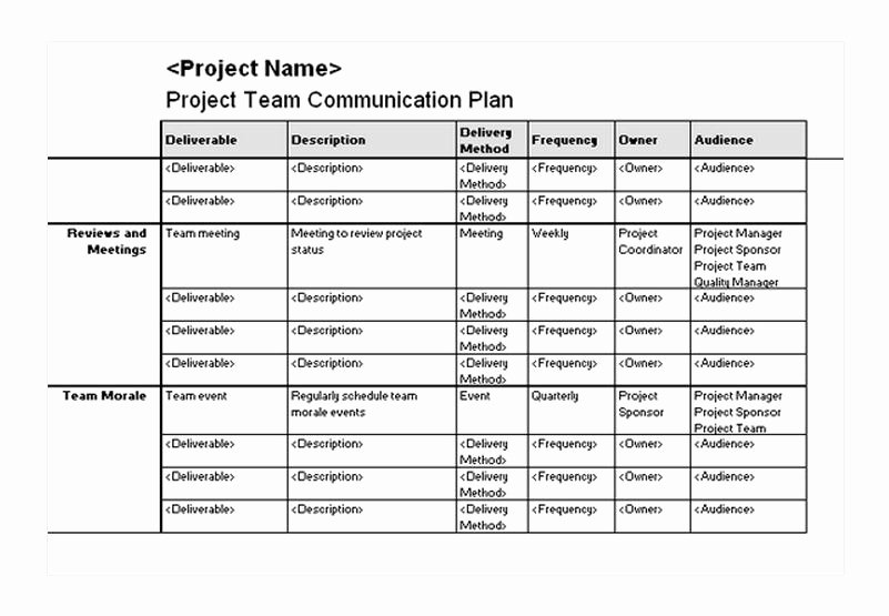 Communication Plan Template Excel Awesome Project Team Munication Plan
