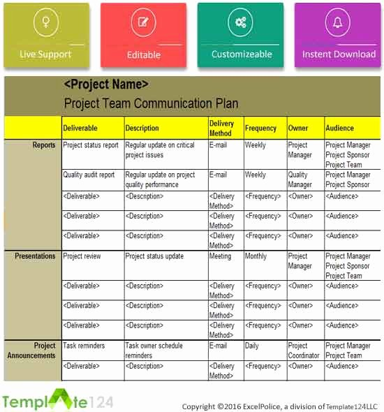 Communication Plan Template Excel Elegant Project Team Munication Plan Template Excel