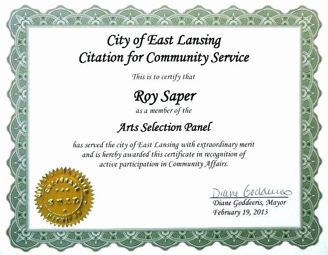 Community Service Certificate Template Beautiful Sample Certificate Recognition for Munity Service