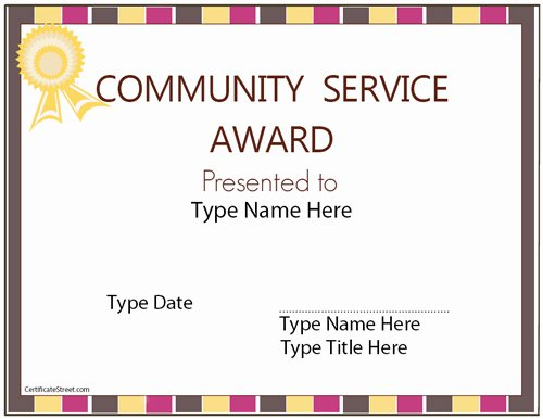 Community Service Certificate Template Fresh Education Certificates Munity Service Award