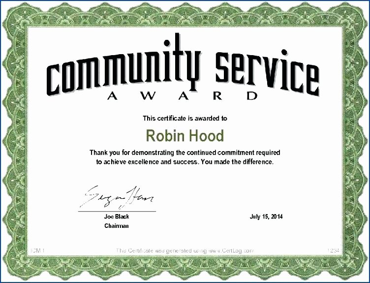 Community Service Certificate Template Lovely Employee Appreciation Certificate Template Free