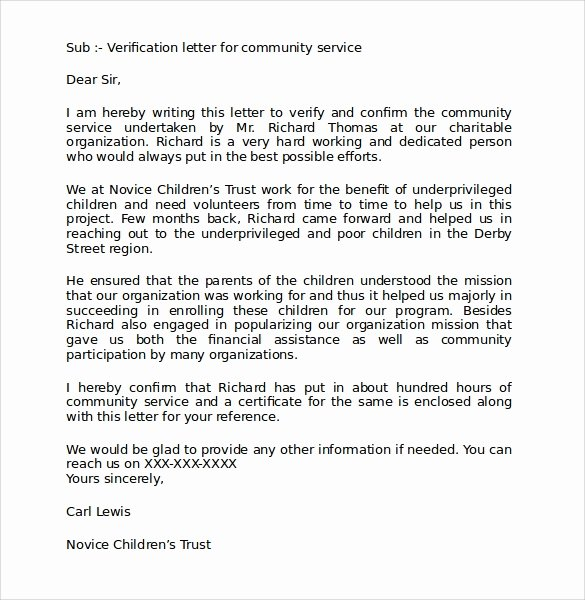 Community Service Letter Template Awesome Sample Munity Service Letter 25 Download Free