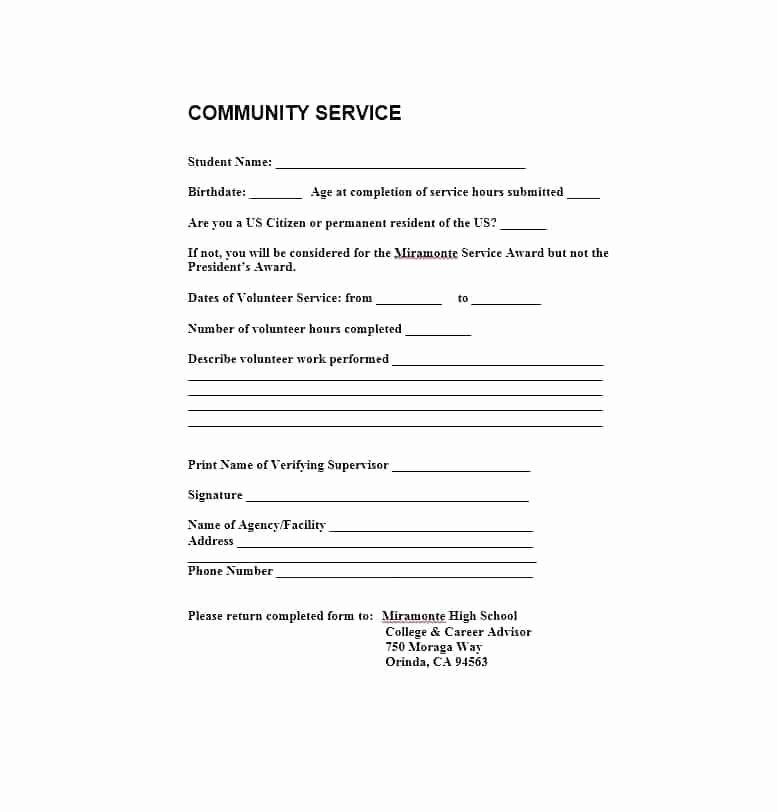 Community Service Letter Template Lovely Munity Service Template – Juegame
