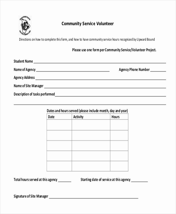 Community Service Timesheet Template Elegant Sample Munity Service form 10 Free Documents In Pdf