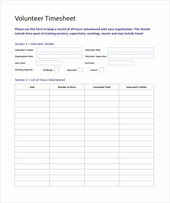 Community Service Timesheet Template Inspirational 11 Volunteer Timesheet Samples