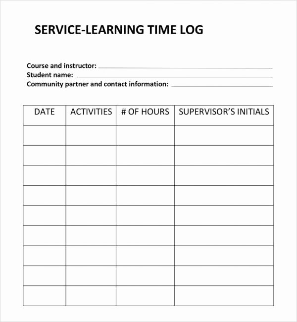 Community Service Timesheet Template New 11 Time Log Templates – Pdf Word