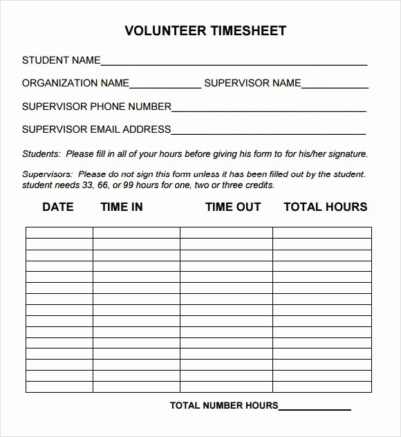 Community Service Timesheet Template New 15 Sample Volunteer Timesheet Templates – Pdf Word