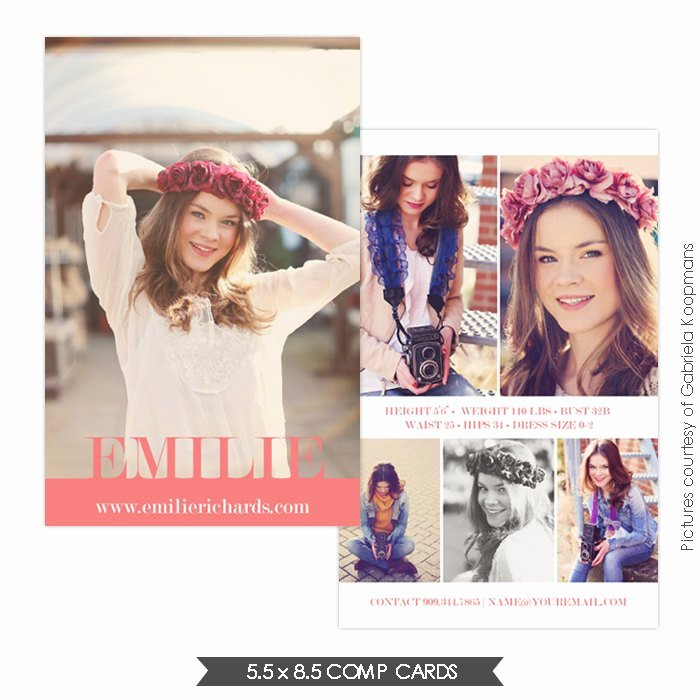 Comp Card Template Free Beautiful Instant Download Modeling P Card Shop Templates