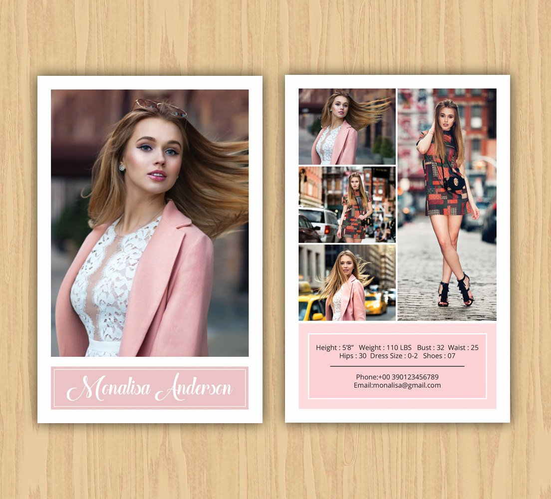 Comp Card Template Free Elegant Fashion Model P Card Template Modeling P Card Ms