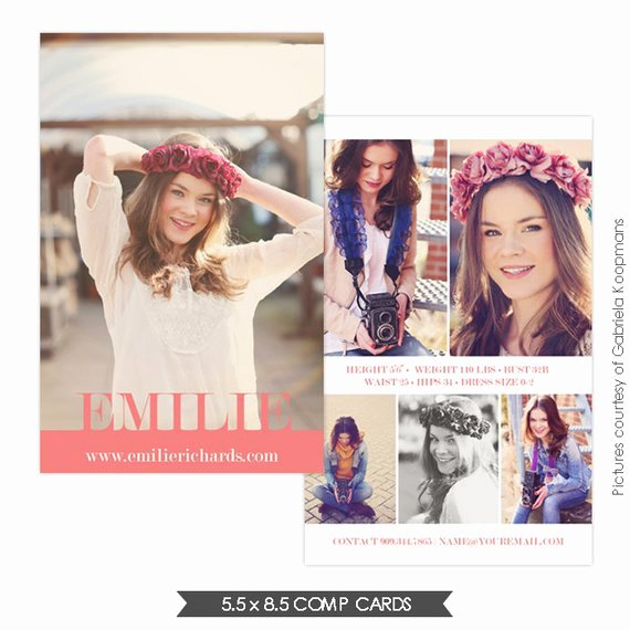 Comp Card Template Free Elegant Instant Download Modeling P Card Shop Templates