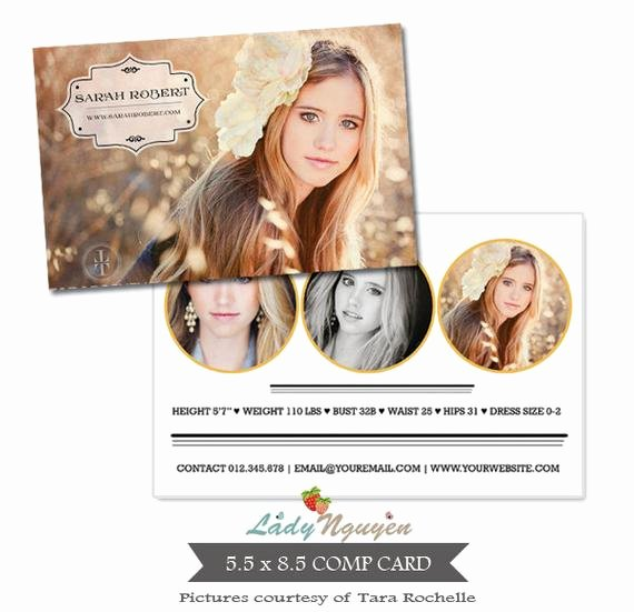 Comp Card Template Photoshop Elegant Instant Download Modeling P Card Shop Templates