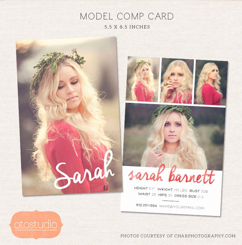 Comp Card Template Photoshop Lovely Model P Card Shop Template Watercolor Chic Cm001
