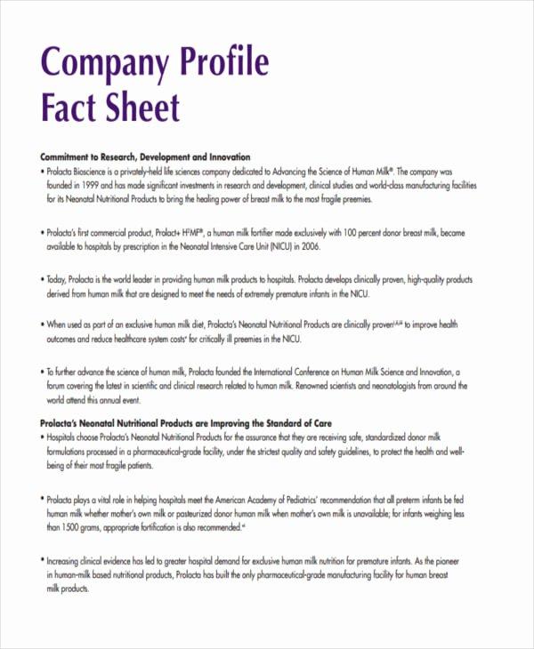 Company Fact Sheet Template Awesome 28 Fact Sheet formats