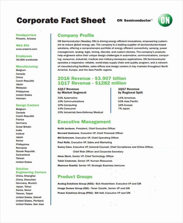 Company Fact Sheet Template Elegant 32 Fact Sheet Templates In Pdf