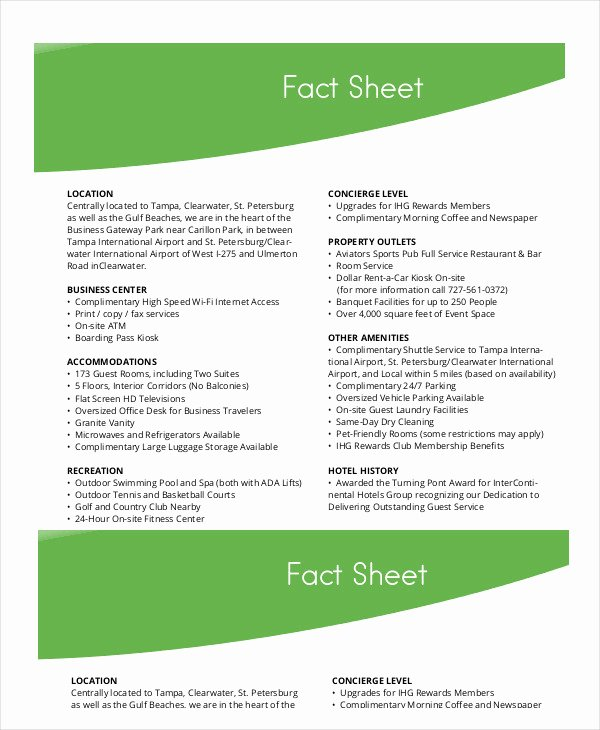 Company Fact Sheet Template Lovely Fact Sheet Template 19 Free Sample Example format