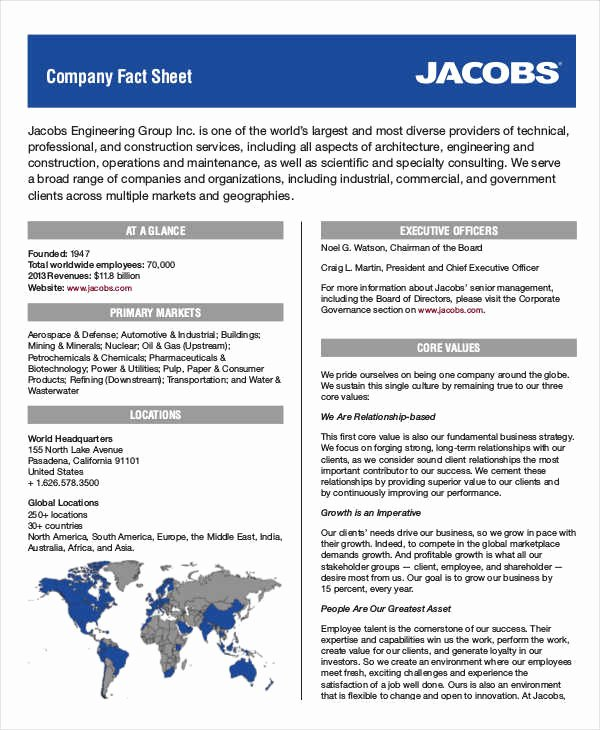 Company Fact Sheet Template Luxury 35 Free Sheet Examples