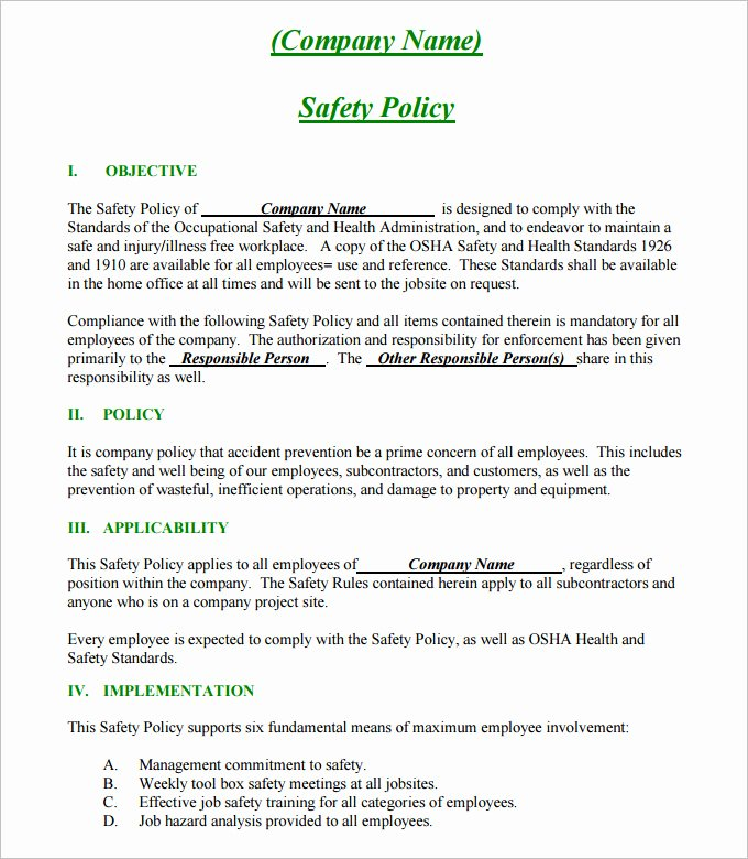 Company Safety Policy Template Awesome Construction Safety Plan Template 17 Free Word Pdf