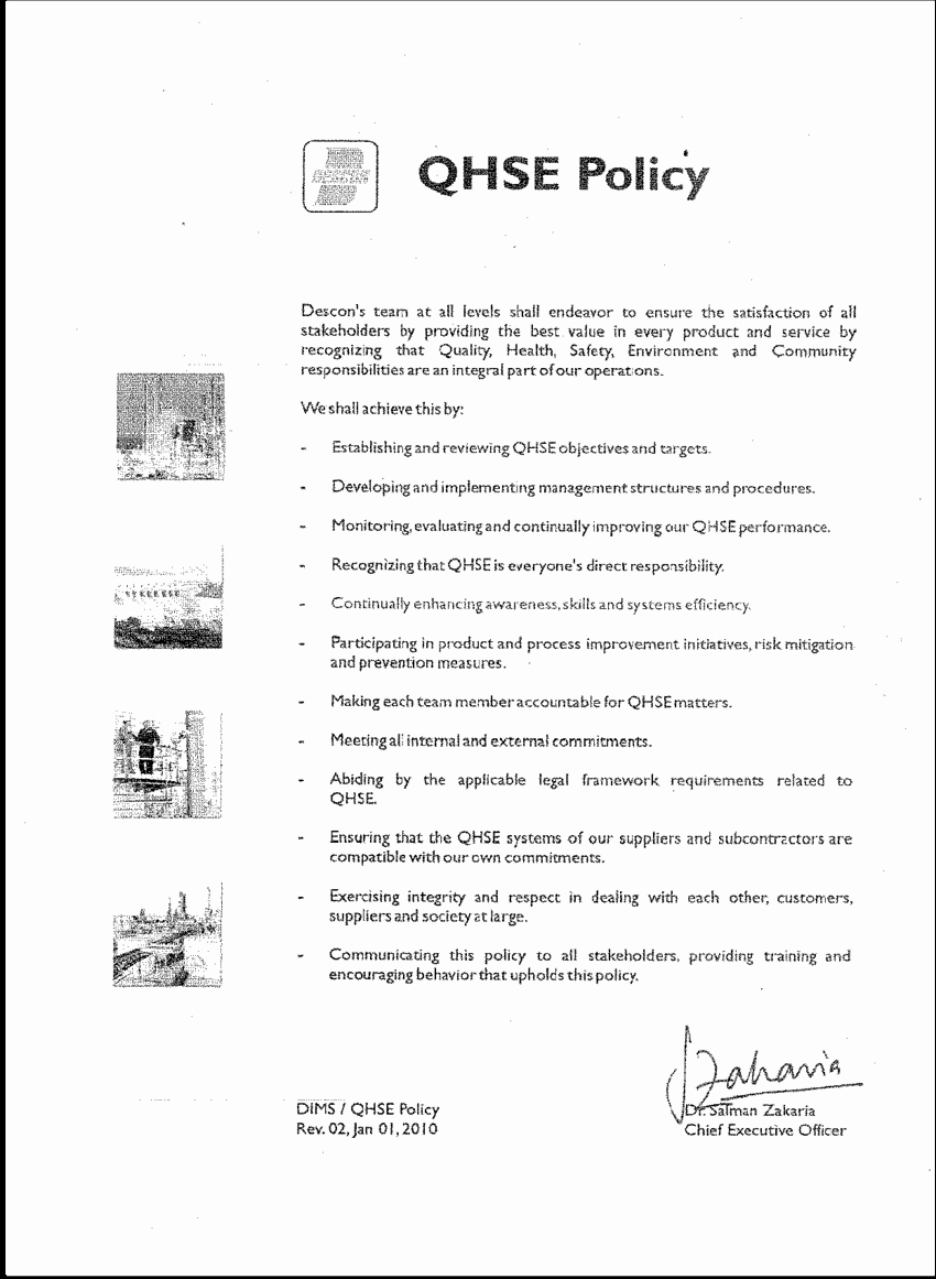 Company Safety Policy Template Beautiful 2 Descon S Health and Safety Policy
