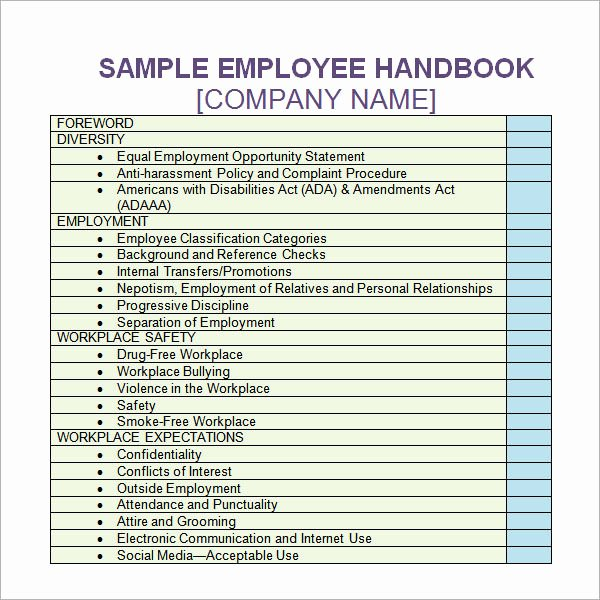 Company Safety Policy Template Best Of 6 Sample Printable Employee Handbook Templates